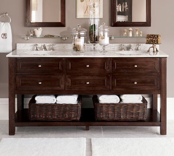 Classic double sink console espresso finish pottery for Espresso bathroom ideas