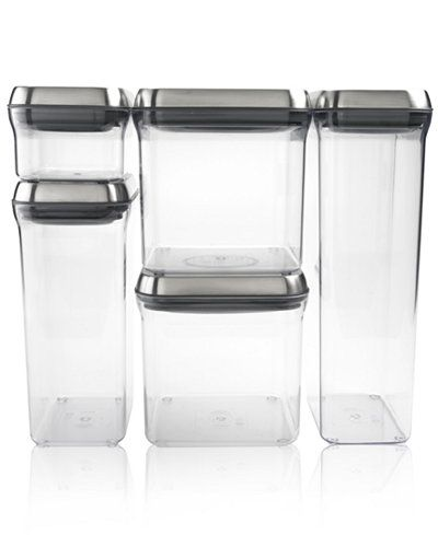 OXO Pop Food Storage Containers Set of 5 Stainless Steel Canisters