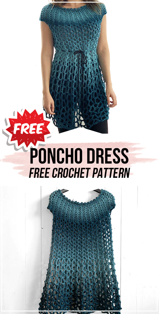 CROCHET PONCHO DRESS free pattern - easy crochet dress pattern for beginners #crochetdressoutfits