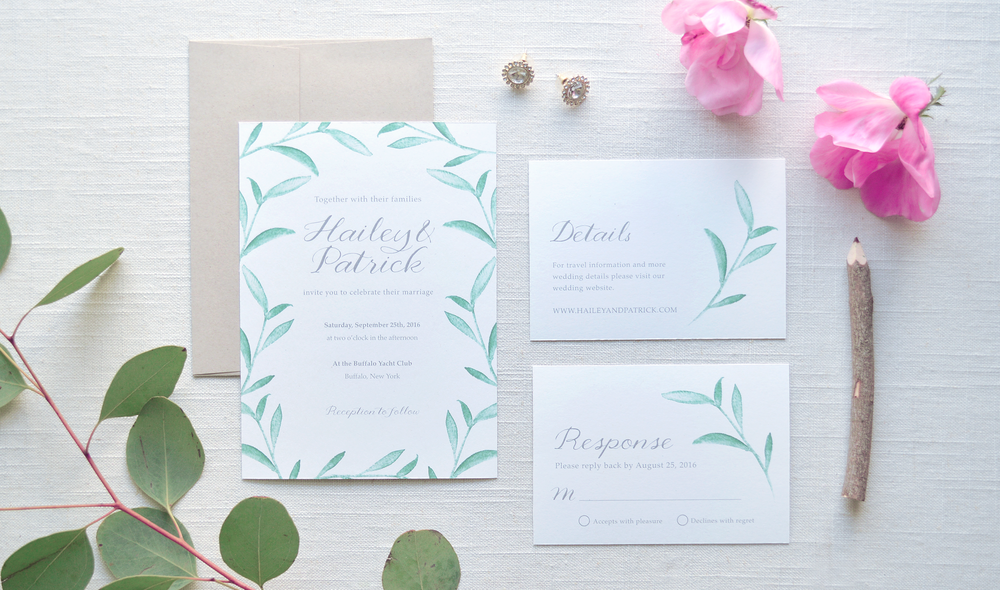 Leafy watercolor wedding invitations Leafy watercolor wedding