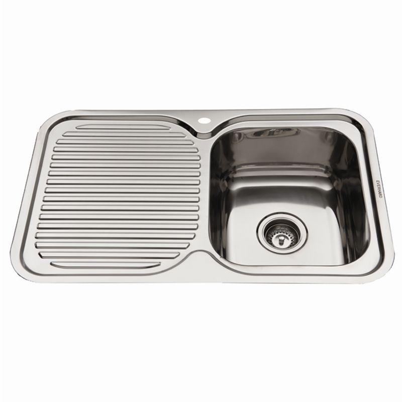 NuGleam 780 Single RH Bowl Kitchen Sink with Drainer   Kitchen ...