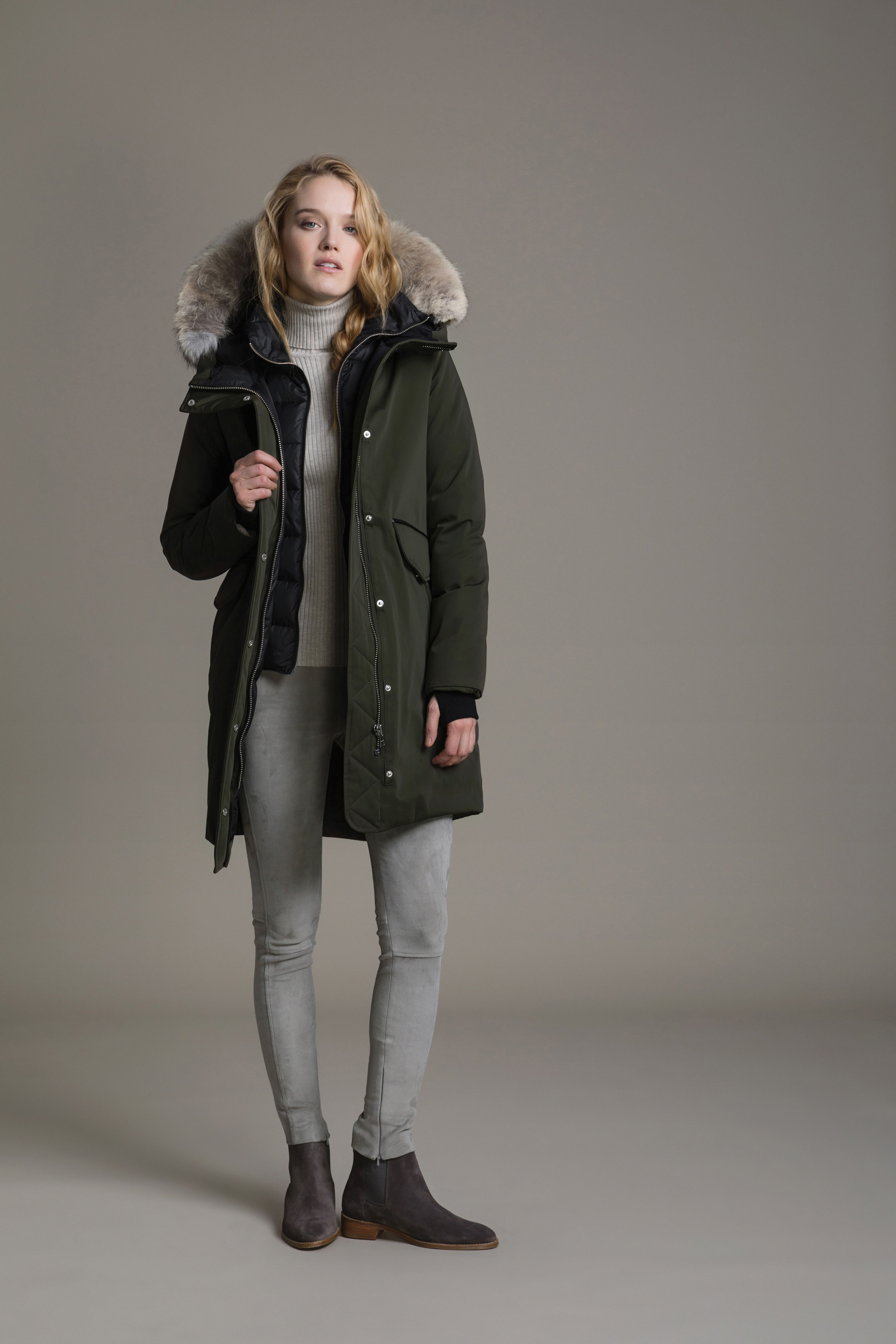 4361fe903ea4b PAYTON by SOIA & KYO is a straight-fit, mid-length down coat with a  face-framing hood and leather trim detail. Designed with a high-low hemline  and back ...