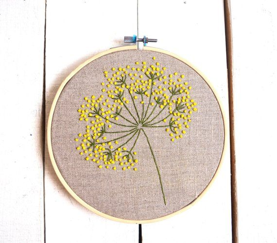 Floral embroidery hoop art Yellow wild flowers wall art Hand stitched Plant embroidered Framed botanical decor herb decoration #floralembroidery