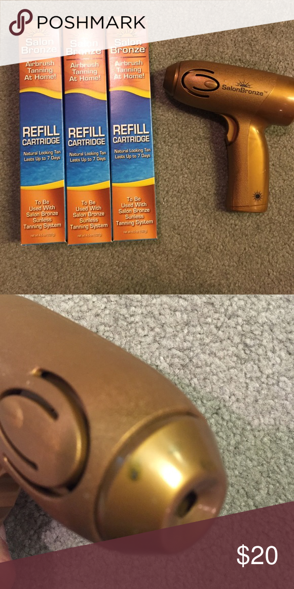 Salon bronze spraytan Salon bronze spraytan gun (used) with 3 refill cartridges. Gun used once, see photo for mark on gun. Accessories