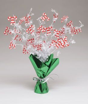 Share CoolGlow with you Friends and Receive 5% on your order.  Candy Cane Foil Spray Centerpiece - Coolglow.com #http://pinterest.com/coolglow/