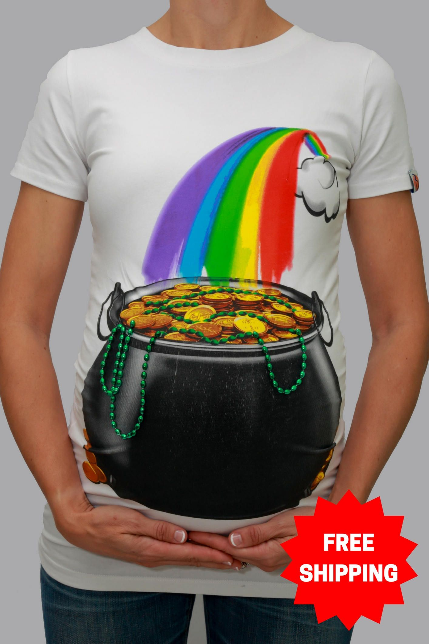 640e6a7cd3b53 Pot of Gold Maternity T-Shirt / St Patrick's Day Maternity T-shirt ...