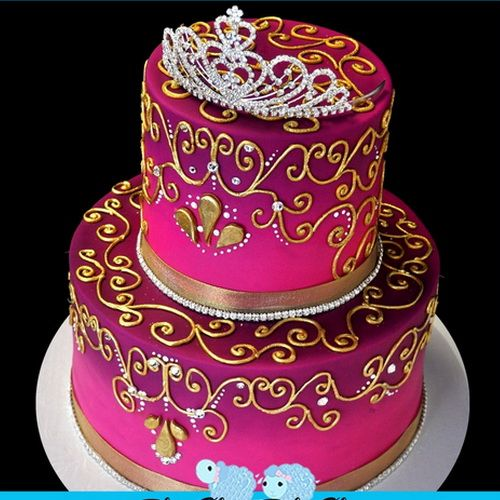 This Is A Nice Cake Idea As Well For My Half Birthday Indian Princess Birthday Cake Pink And Purple Gradient Cake With Gold Piping Swarovski Crystals