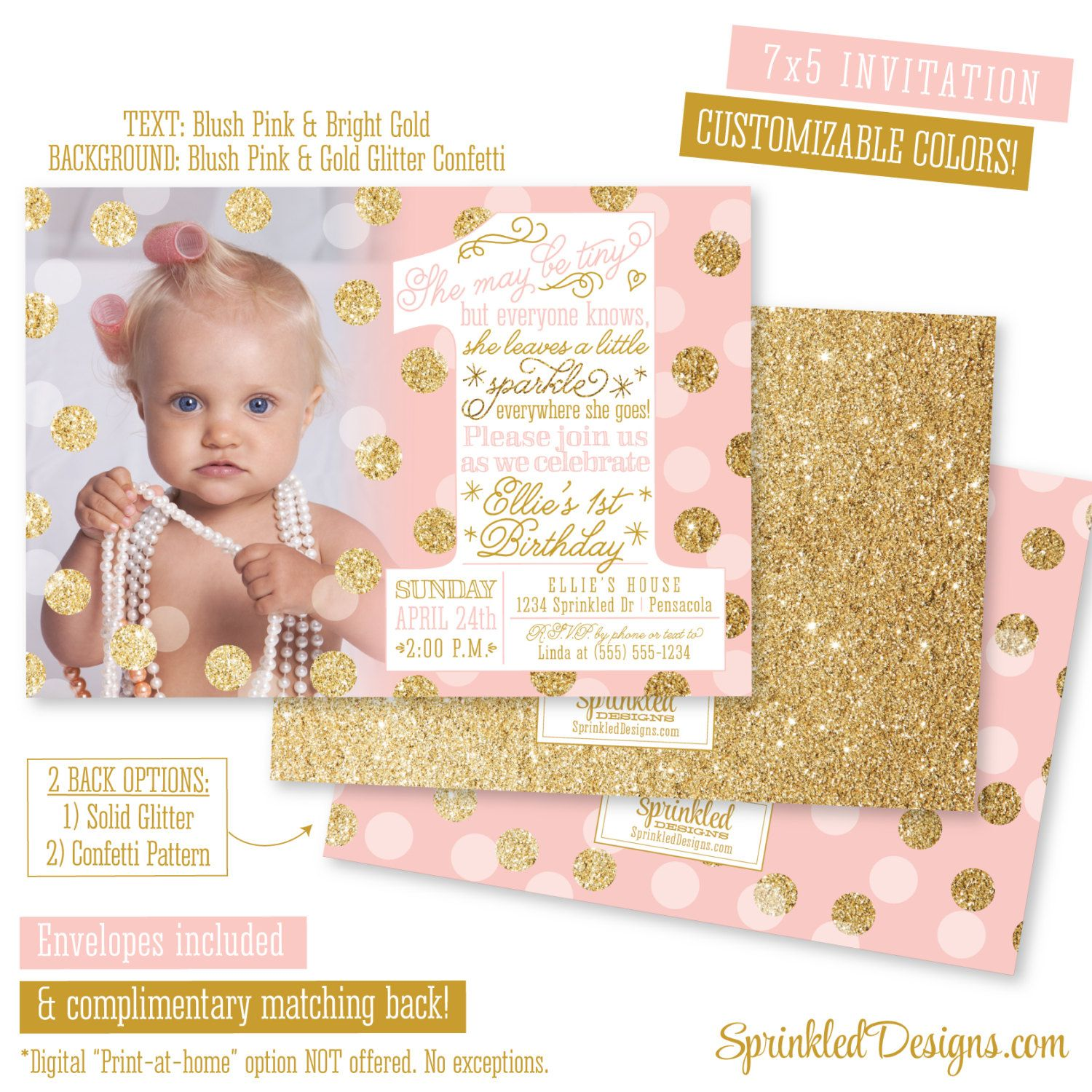 She Leaves A Little Sparkle Invitation - First Birthday Invitation ...