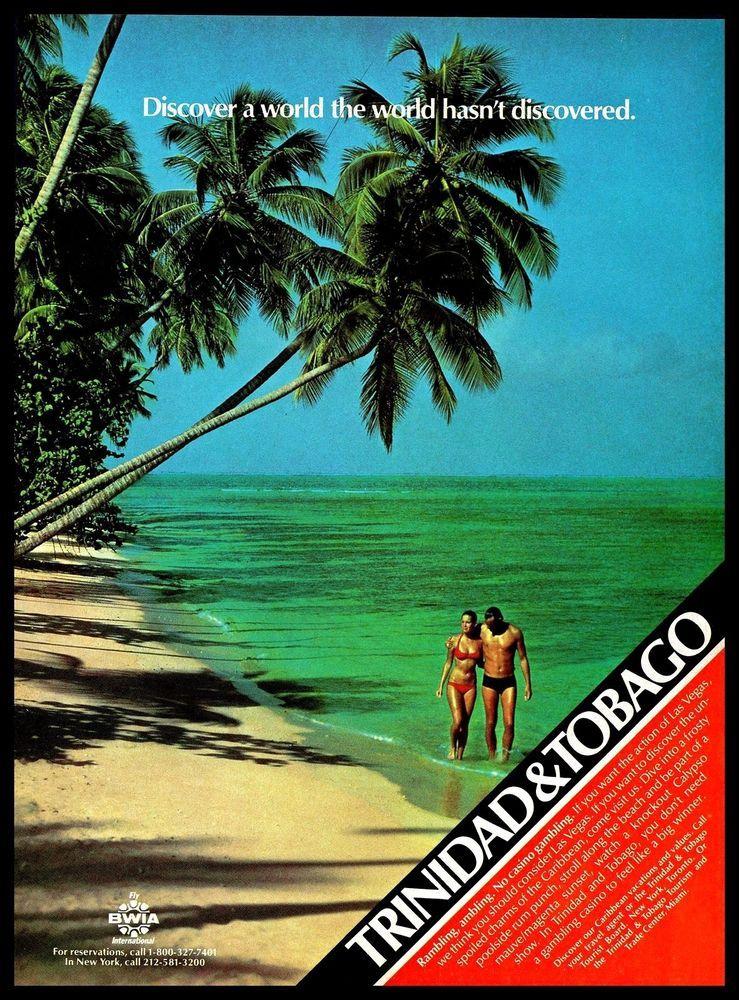 1982 Caribbean Islands Trinidad Tobago Solitary Beach Couple Vintage Print Ad Tobago Travel Travel Ads Caribbean Islands