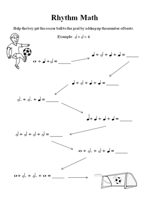 Free Music Theory Worksheet: Rhythm, Adding Notes Together (Easy ...