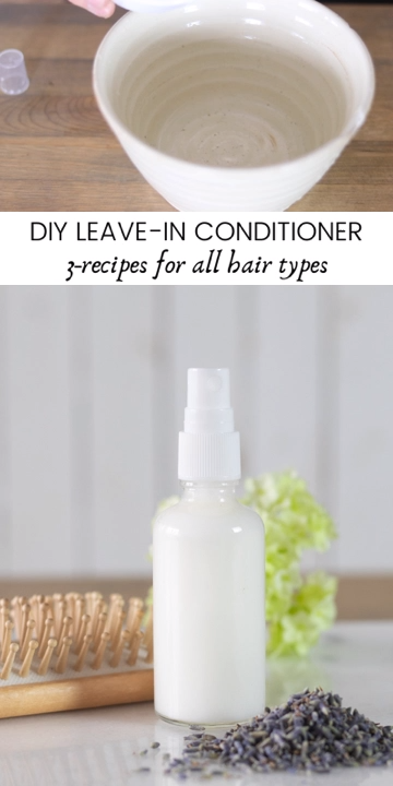 3 moisturizing DIY leave in conditioner recipes for all hair types. Made with essential oils best for hair growth and other all-natural products. #naturalhaircare #hairgrowth #essentialoilsforhair