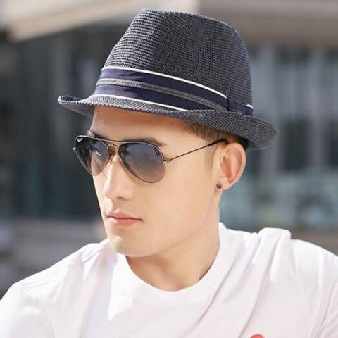 9c90bbd4605 Striped hatband straw panama hat for men UV summer sun beach hats ...