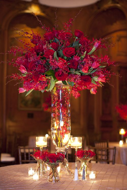 Tall Rose Centerpiece Shaadibazaar Indianwedding