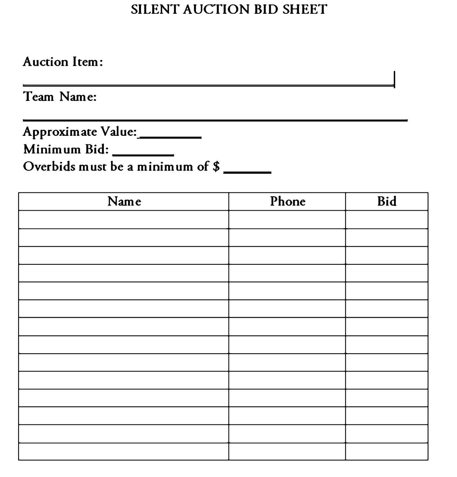 Sample Silent Auction Bid Sheet Silent Auction Bid Sheets Auction Bid Silent Auction Silent auction bid sheet template