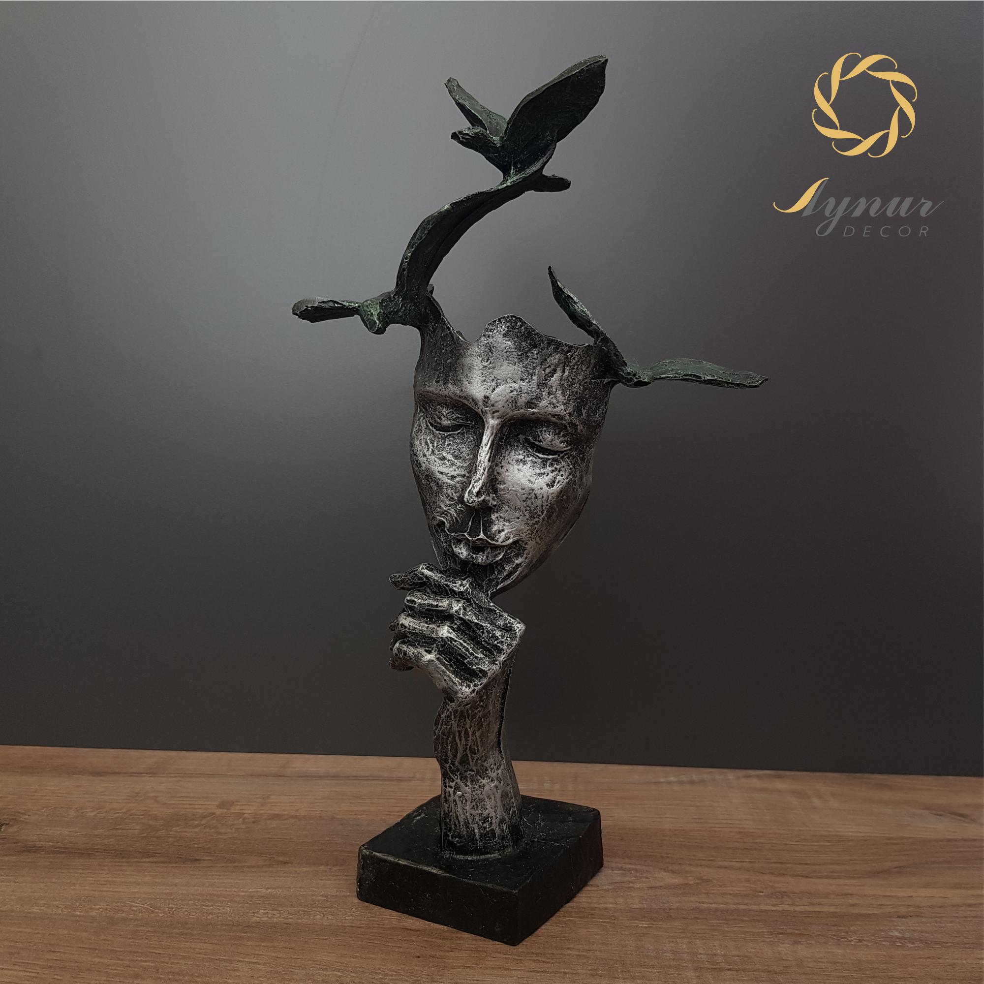 Philosopher Free Thinker Man Statue Abstract Unique Statue Sculpture Face Silent Man Figurine Statue Sculpture Free Thinker