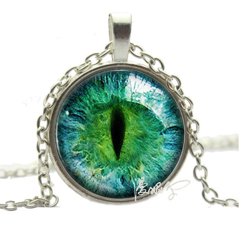 Taylor9005 Silver Photo Prismatic Green Cat Eye Pendant Necklace Green