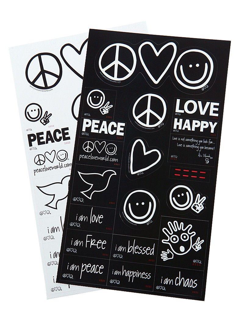 Peace Love World Black Sticker Sheet Pack