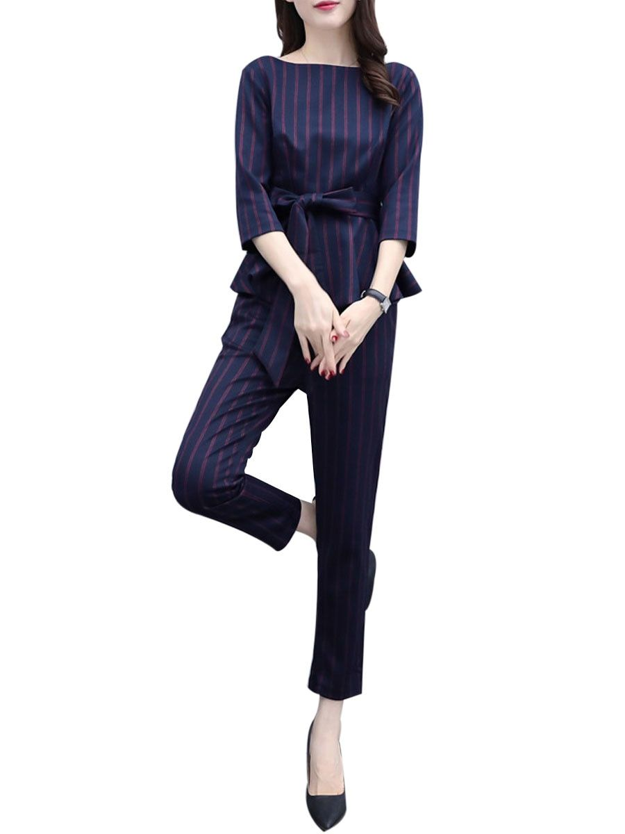 3e53e6fdb28c Buy Women s Two Pieces Set Plus Size O Neck Three Quarters Sleeve Top  Striped Pattern Casual Pants Set   Women s Two Pieces Suits - at Jolly Chic