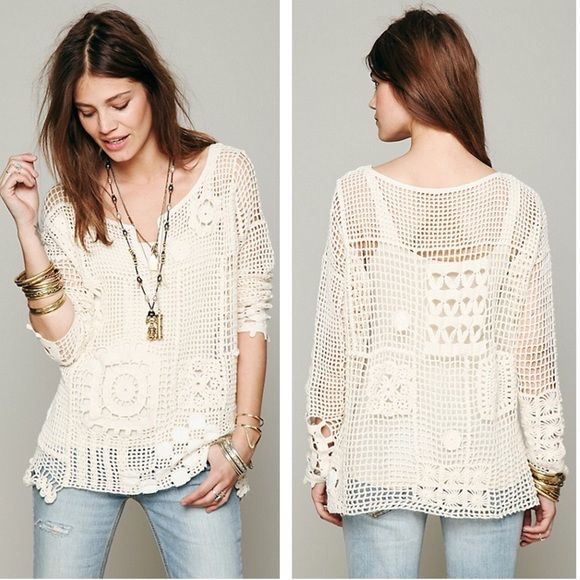 Free People Patched Crochet Pullover Sweater Top #freepeople #poshmark #shopping #crochet #fashion #chic