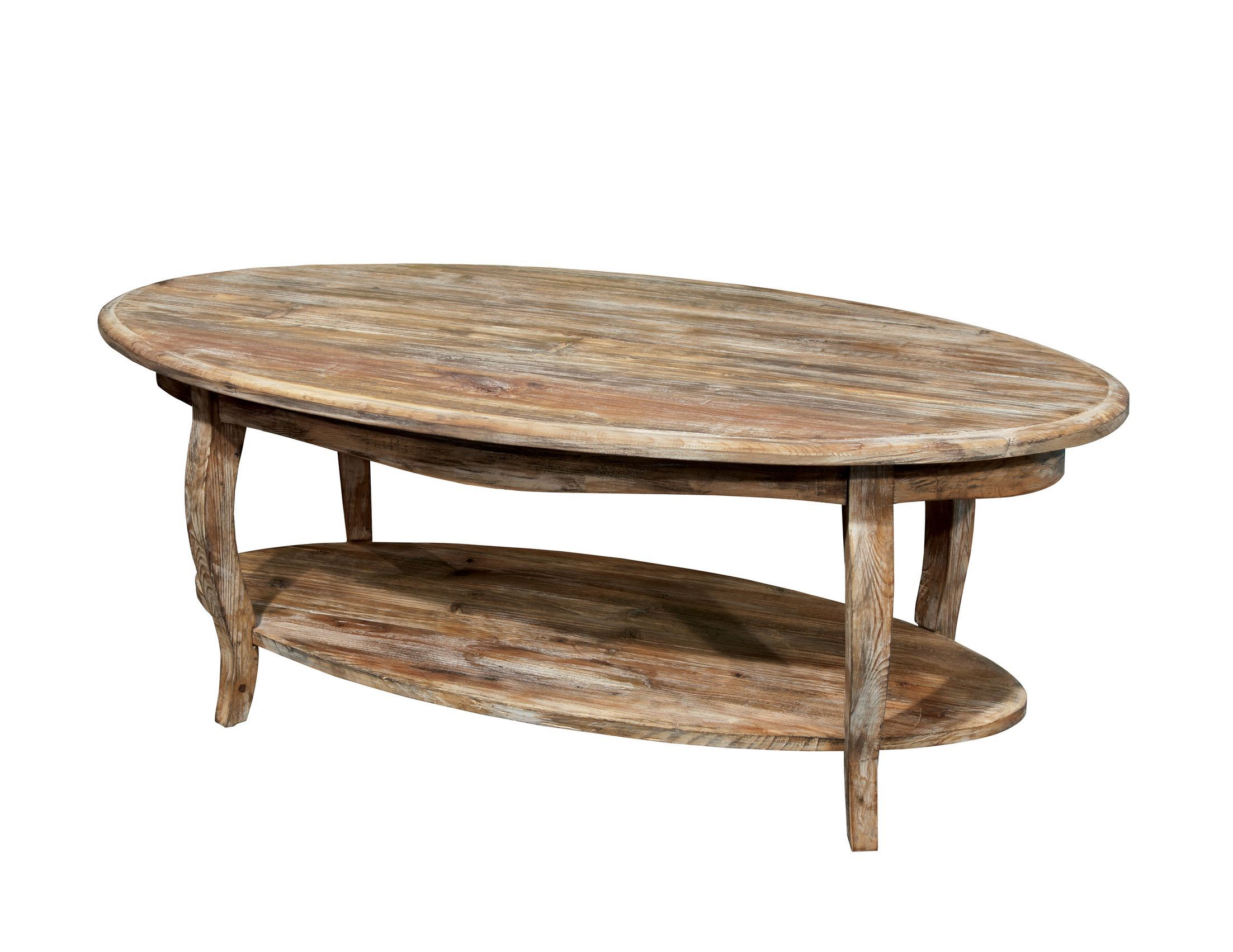 Alaterre Rustic Reclaimed Driftwood Oval Coffee Table