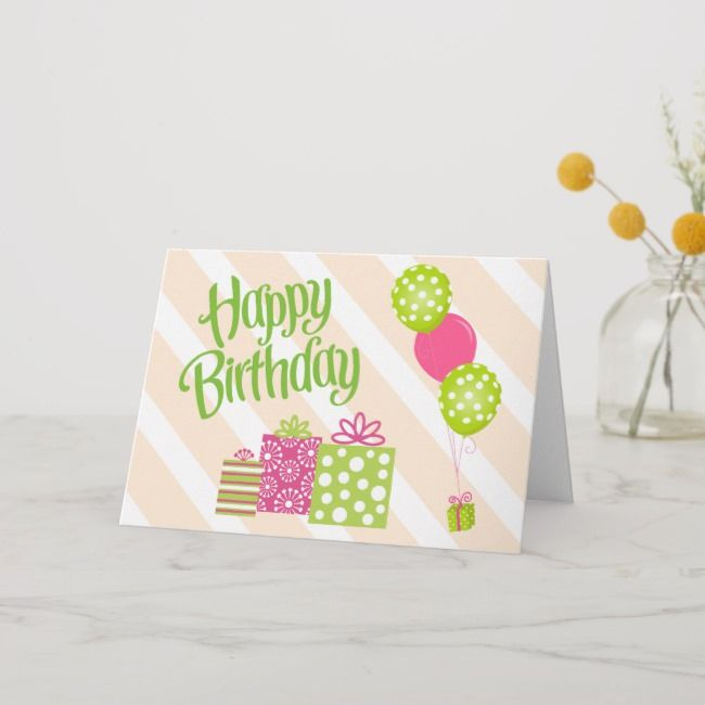 Special Girl S Pink And Green Birthday Card Zazzle Com Girl Birthday Cards Birthday Cards Birthday Cards For Niece