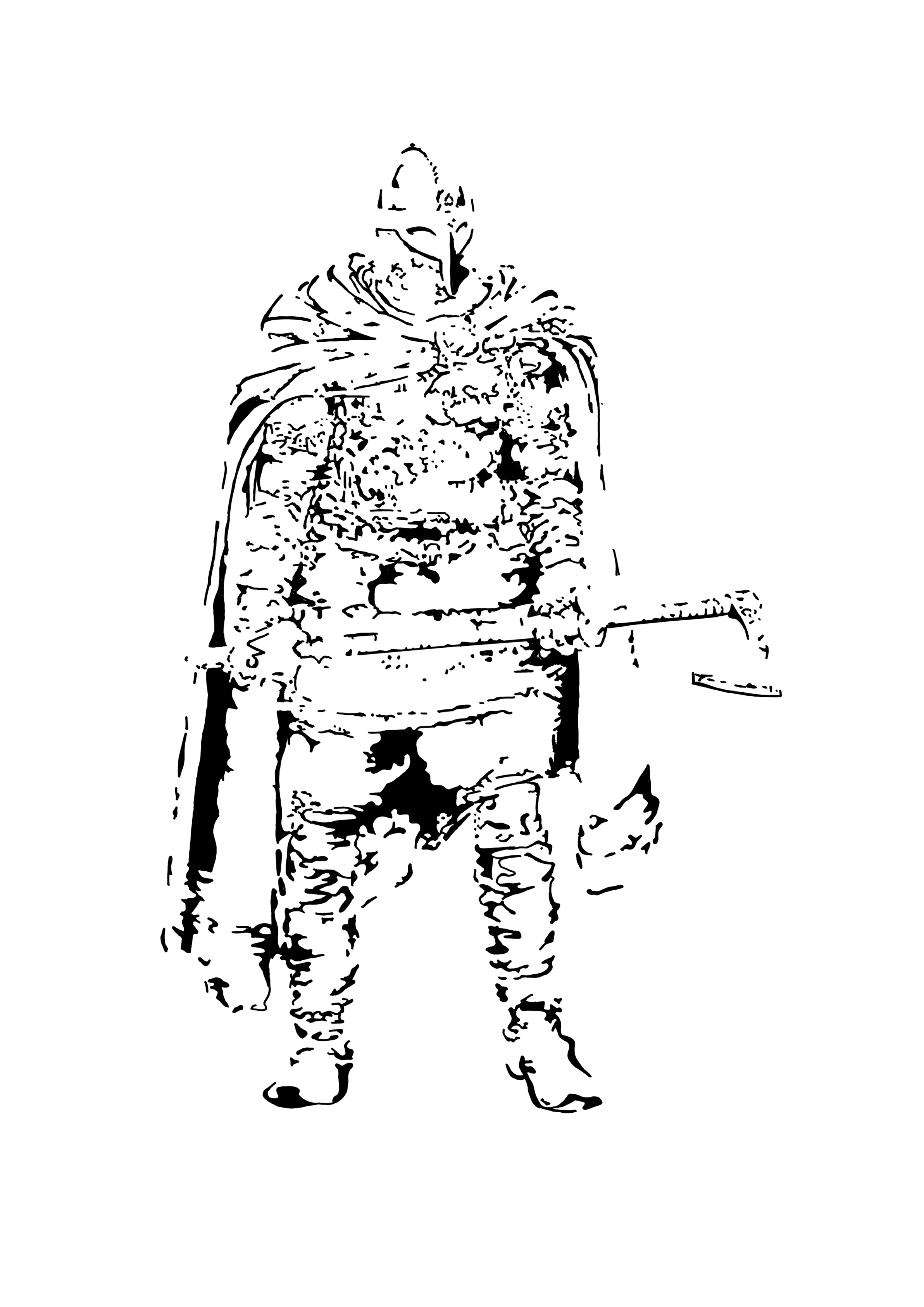 Artist: Baarts Image: Viking warrior in monotone pop art style, using only shading to create the image