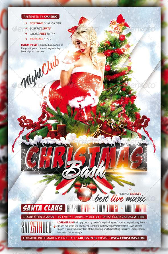 Christmas / Xmas Bash / Party Flyer / Poster #GraphicRiver Christmas ...