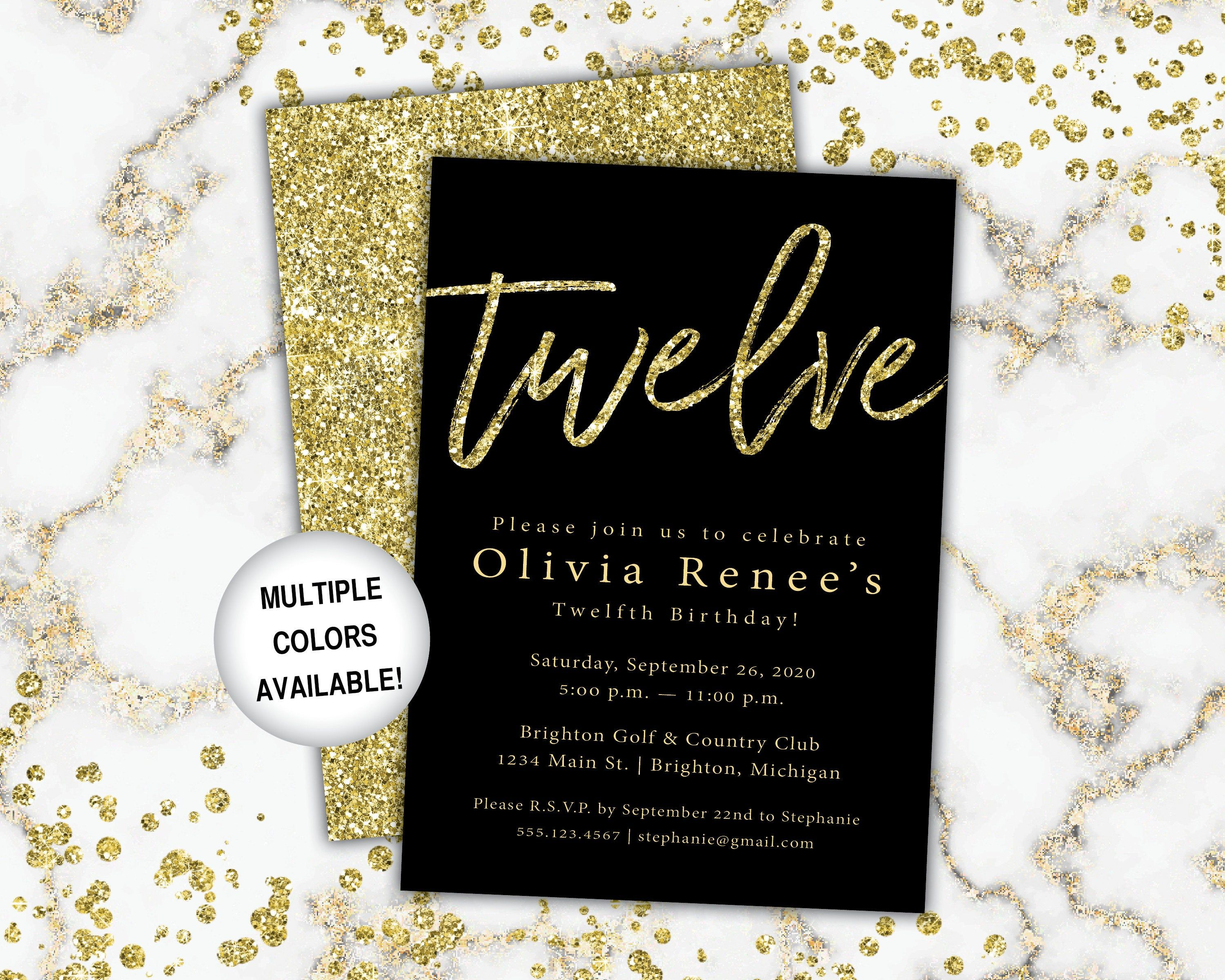 12th Birthday Invitation Black And Gold Birthday Invitation Etsy Bday Invitations Birthday Invitations Birthday Invitation Templates