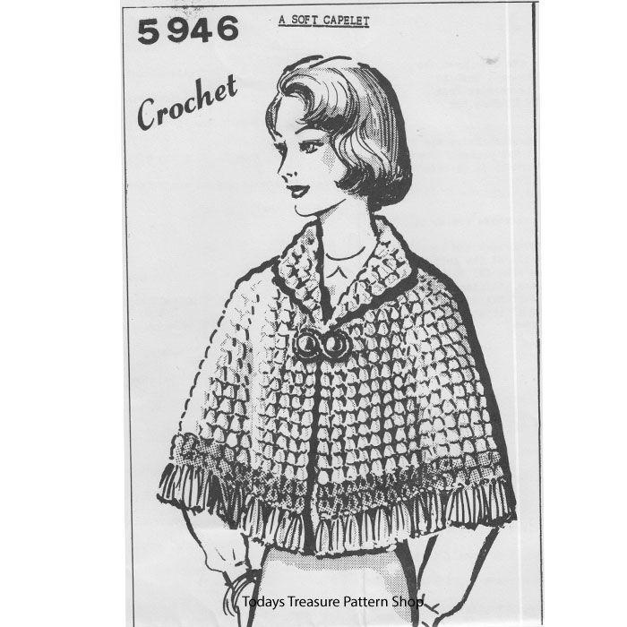 Crocheted Shell Cape Pattern, Mail Order 5946 | colete de crochê ...