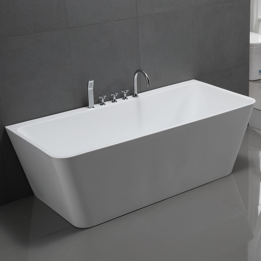 Freistehende Badewanne Sylt Acryl weiß mit Armatur, diese sehr luxuriöse…