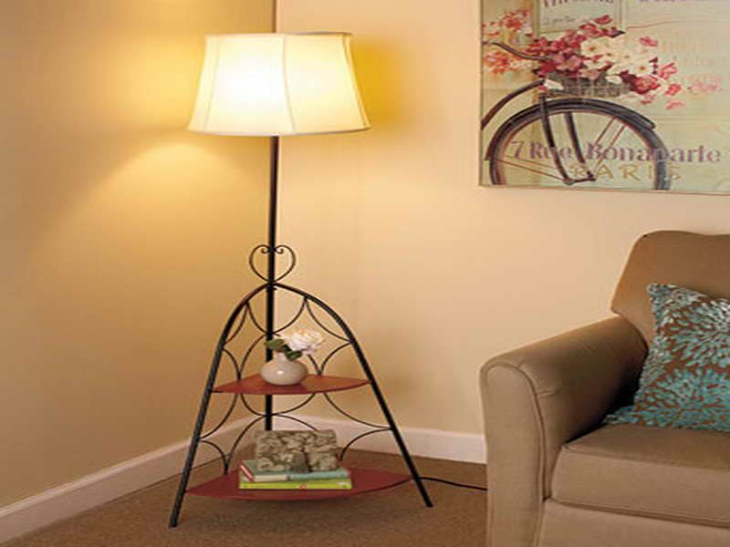 Giesendesign Floor Lamp With Shelves With Brown Sofa