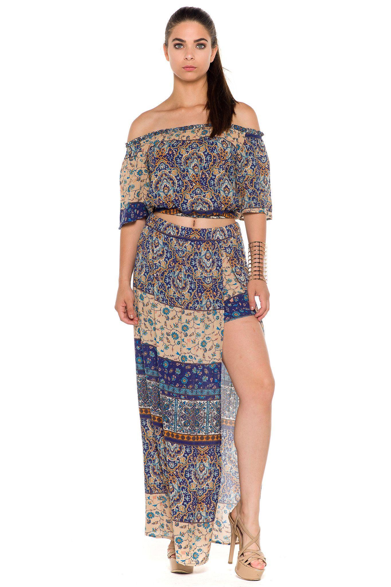 (alc) Printed maxi skirt set -Blue-