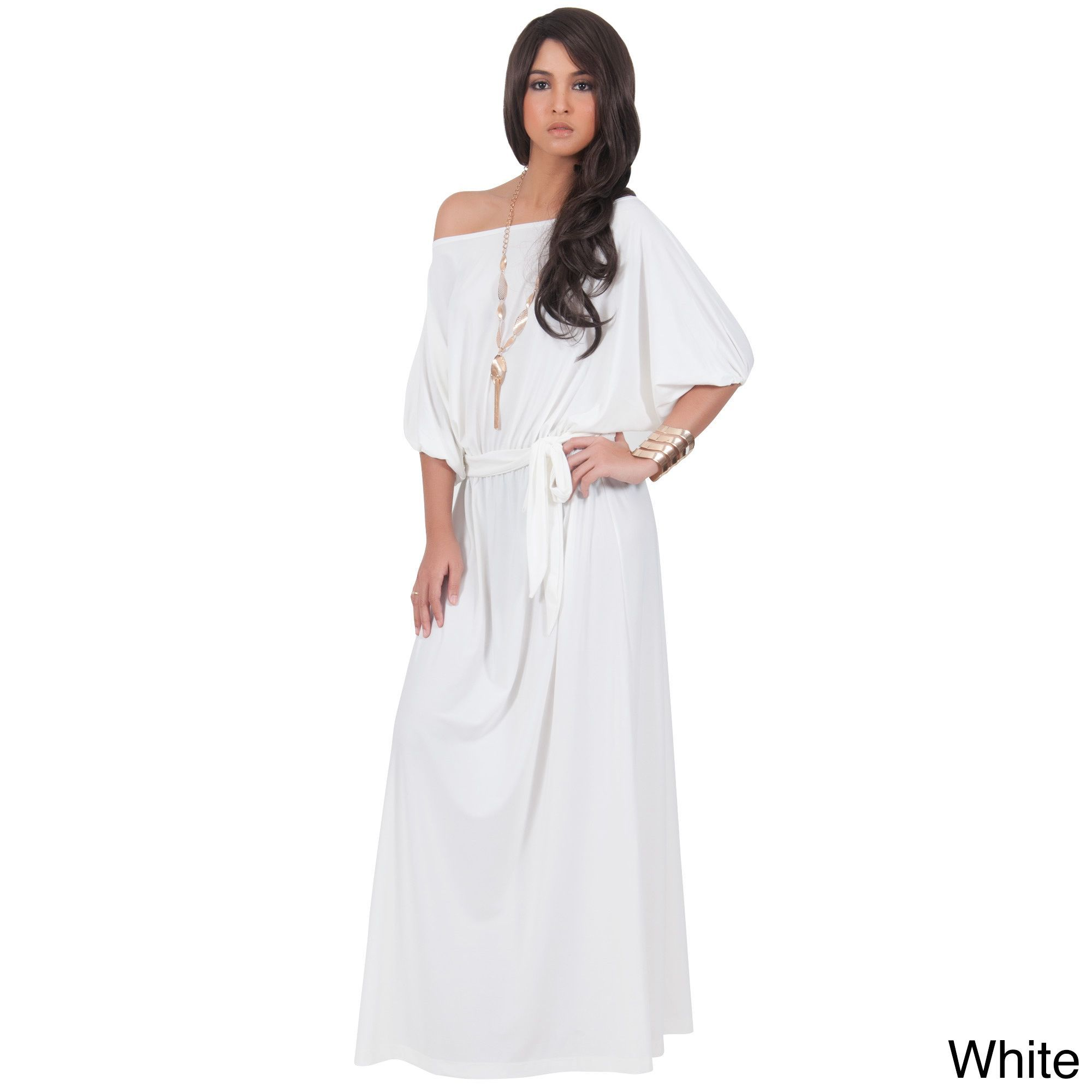 d5ed95f210 Global Koh Koh Women s One Shoulder 3 4-Length Sleeve Cocktail Evening Maxi  Dress
