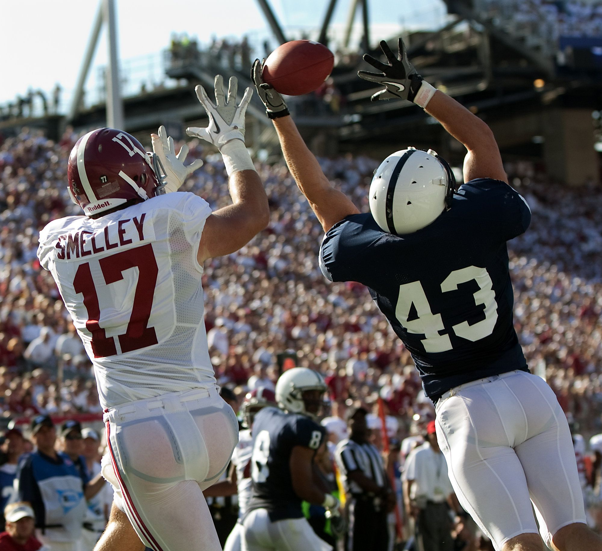 Penn State's Mike Hull (43) saves a touchdown intended for