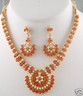 Traditional Design Long Coral Pearl Necklace With Matching Earri