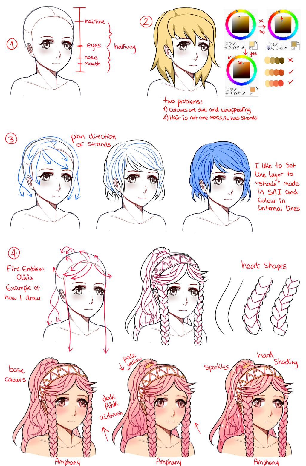 Female Hair Tutorial by Amphany Drawing Hair Tutorial