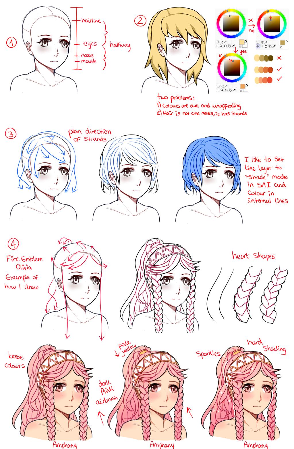 Female Hair Tutorial by Amphany Drawing Hair Tutorial