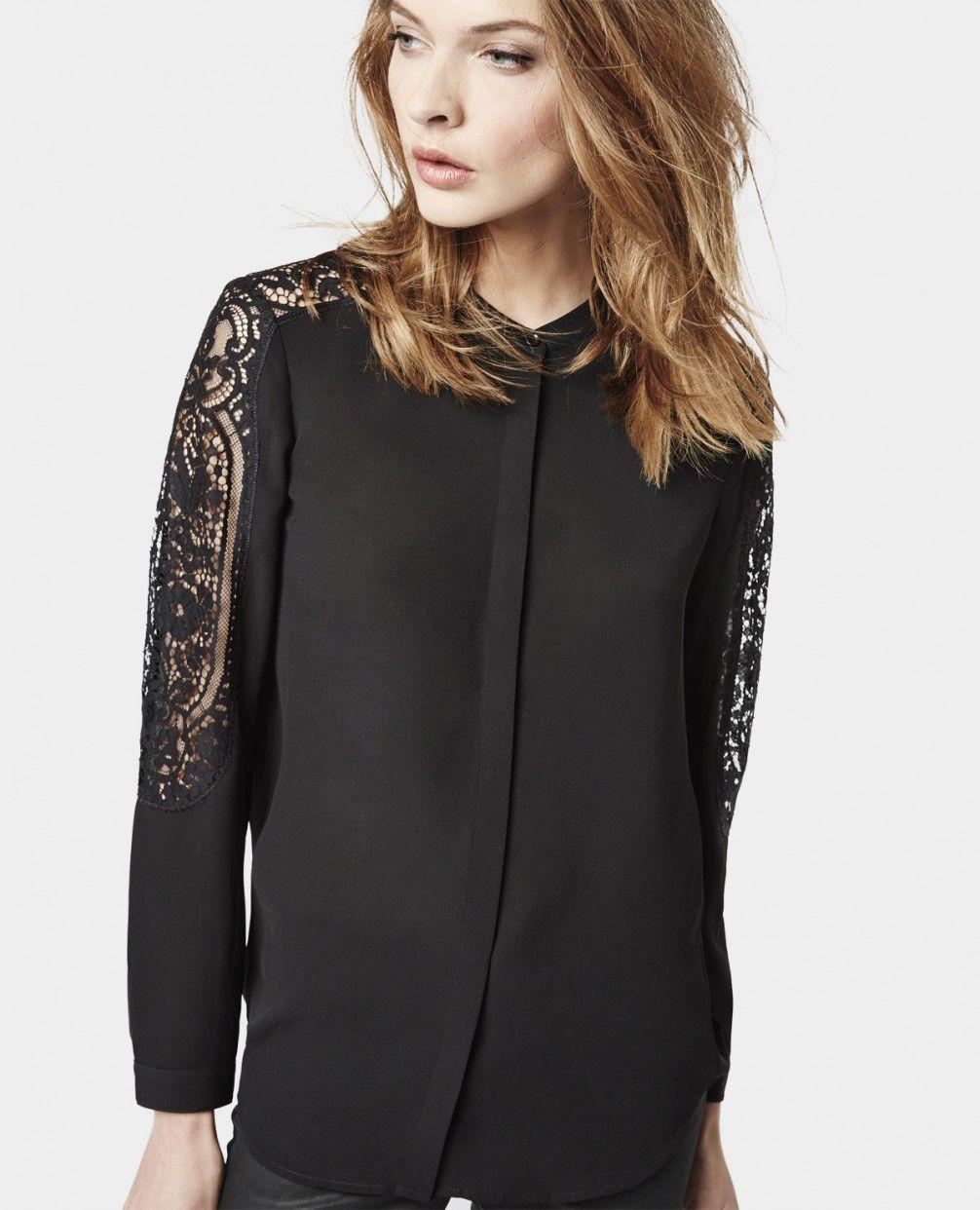 Chemise à incrustation de dentelle - Chemises - Femme - The Kooples