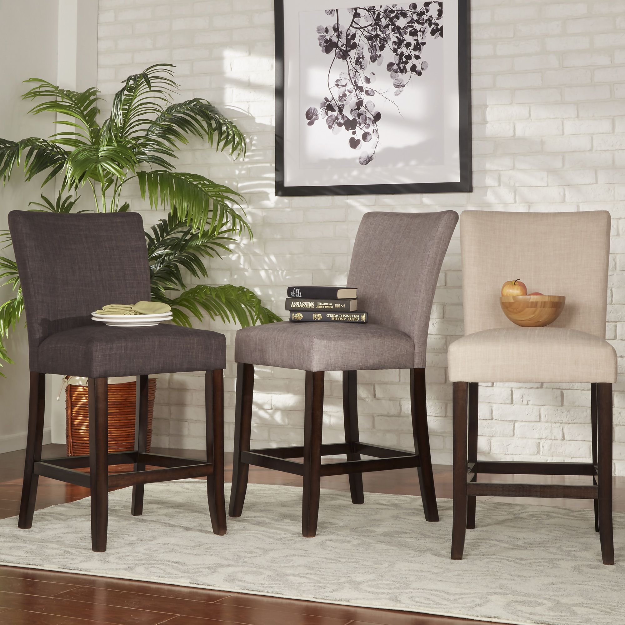Update The Look Of Your Dining Set With This Two Tribeca Home Counter Height Chairs Featuring Linen Upholstery And Spring Cushion Seats On Solid