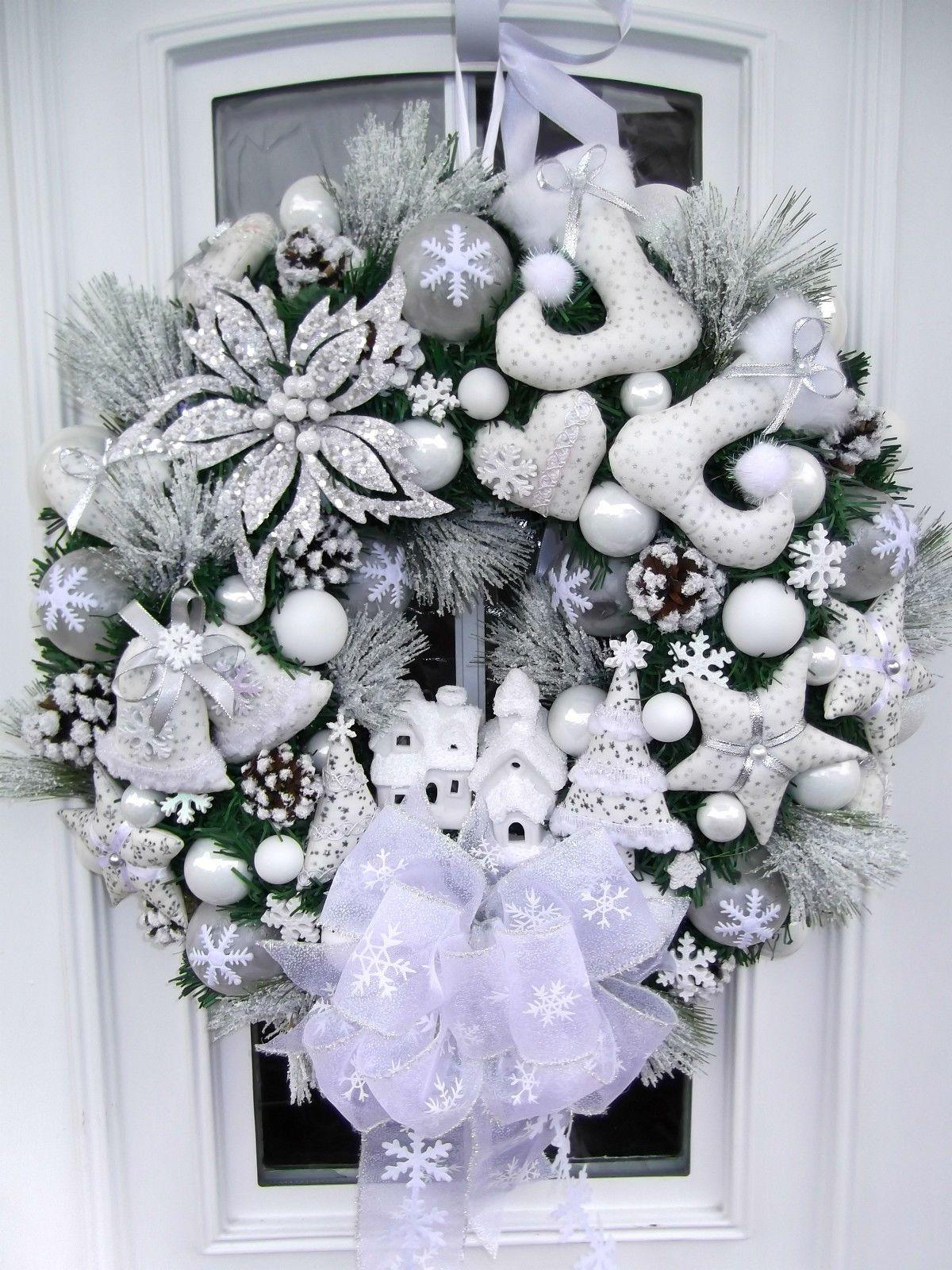 Türkranz Weihnachten Weihnachtskranz Weiß Beleuchtet Tilda Art