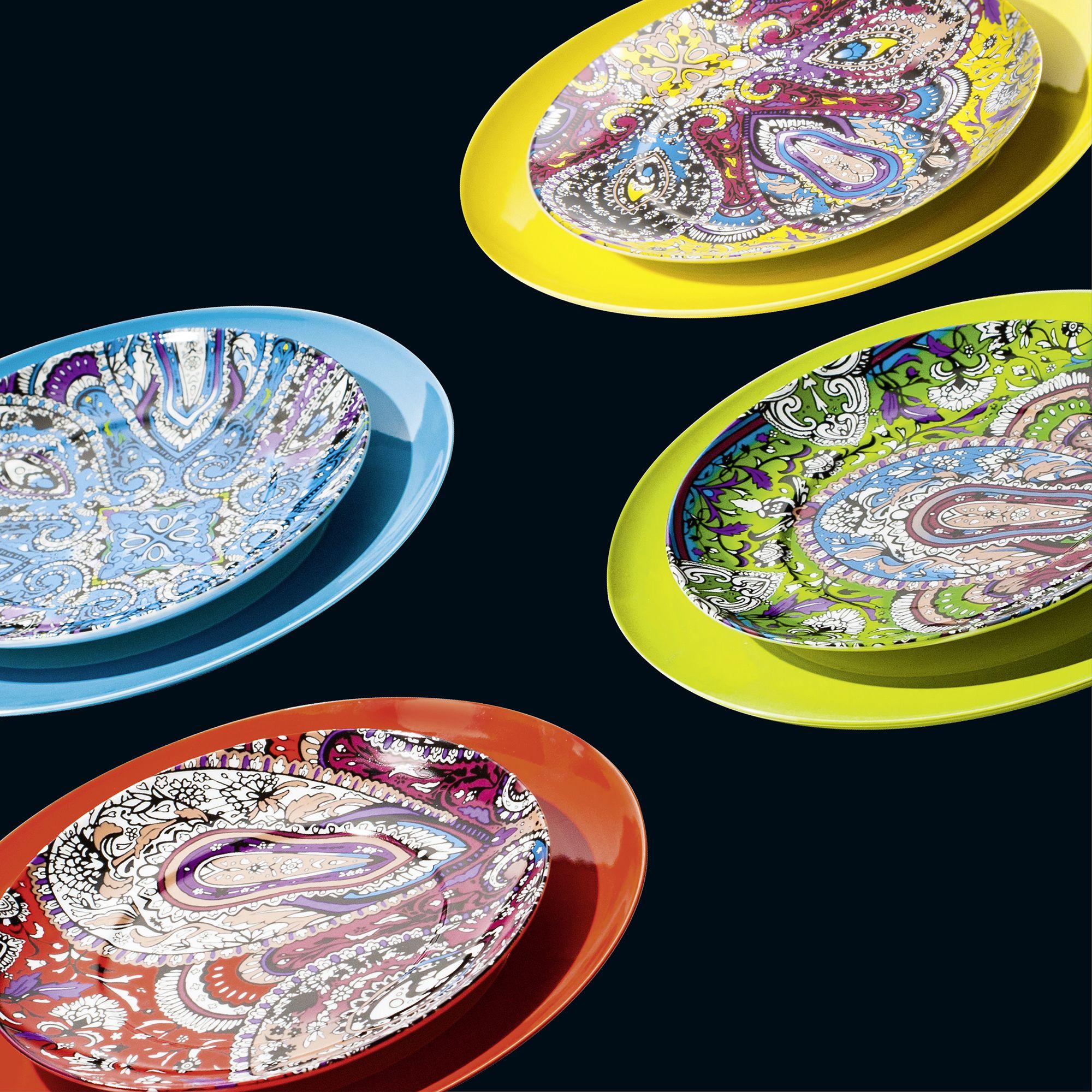 Waechtersbach Urbana Colorful Paisley Accent Plates Porcelain Salad Plates & Waechtersbach Urbana Colorful Paisley Accent Plates Porcelain Salad ...
