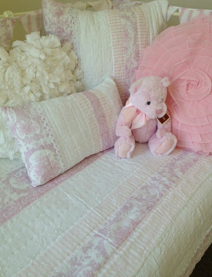 6e39514a2 3 pce Juliet Pink Cot Quilt   2 Cushions Shabby Chic Baby Girl ...