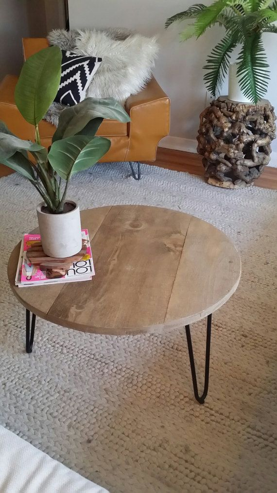 Grey Wash Round Table With Hairpin Legs With Images Round