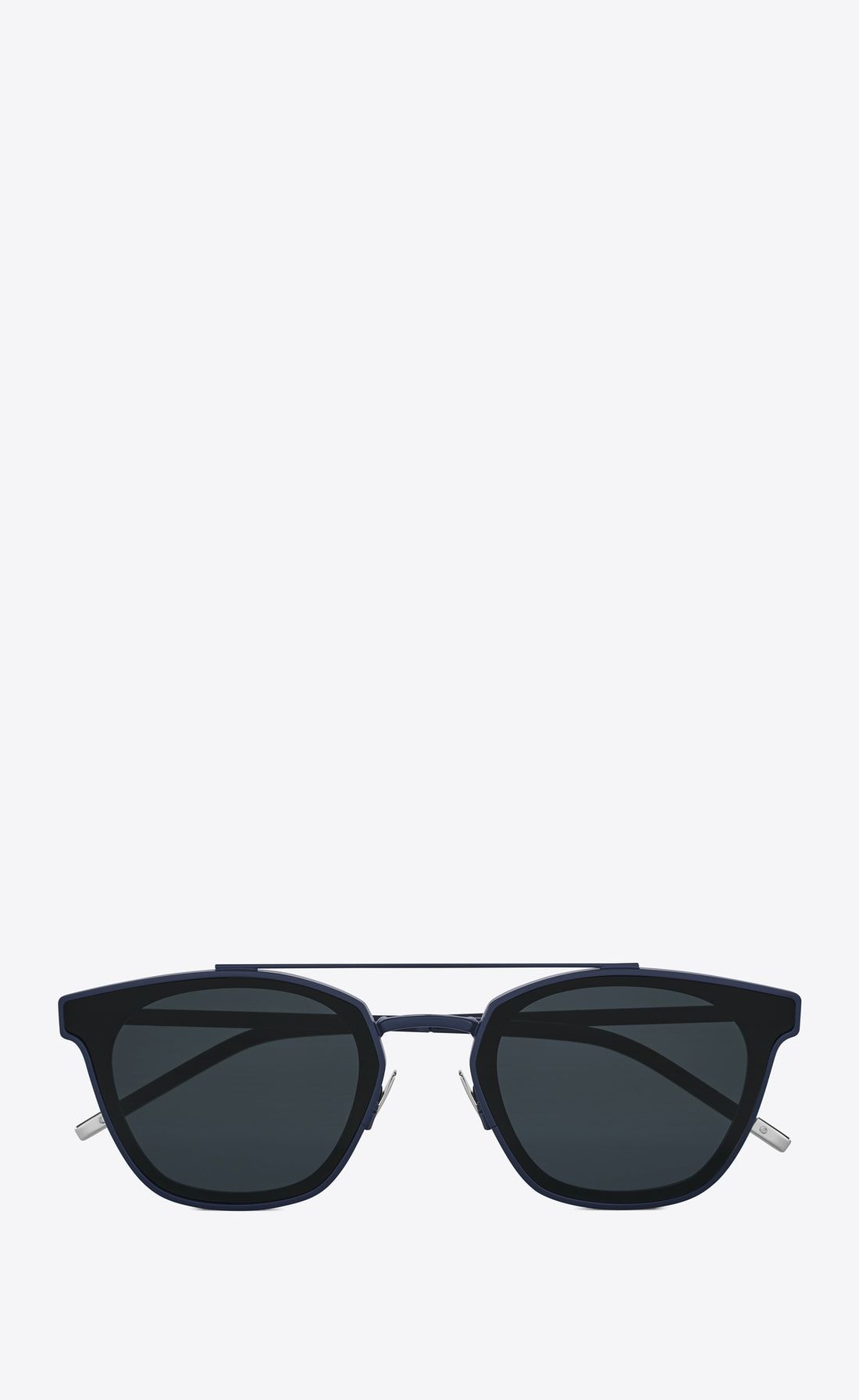 2183e599796 classic 28 sunglasses in blue metal and black acetate with blue lenses ,  Front view