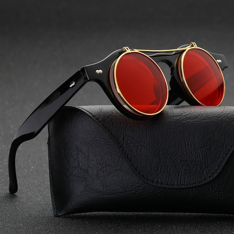 87f046329e7 Pop Age 2018 New Vintage Steampunk Sunglasses Women Men Brand Designer  Metal Mirror Round Red Flip