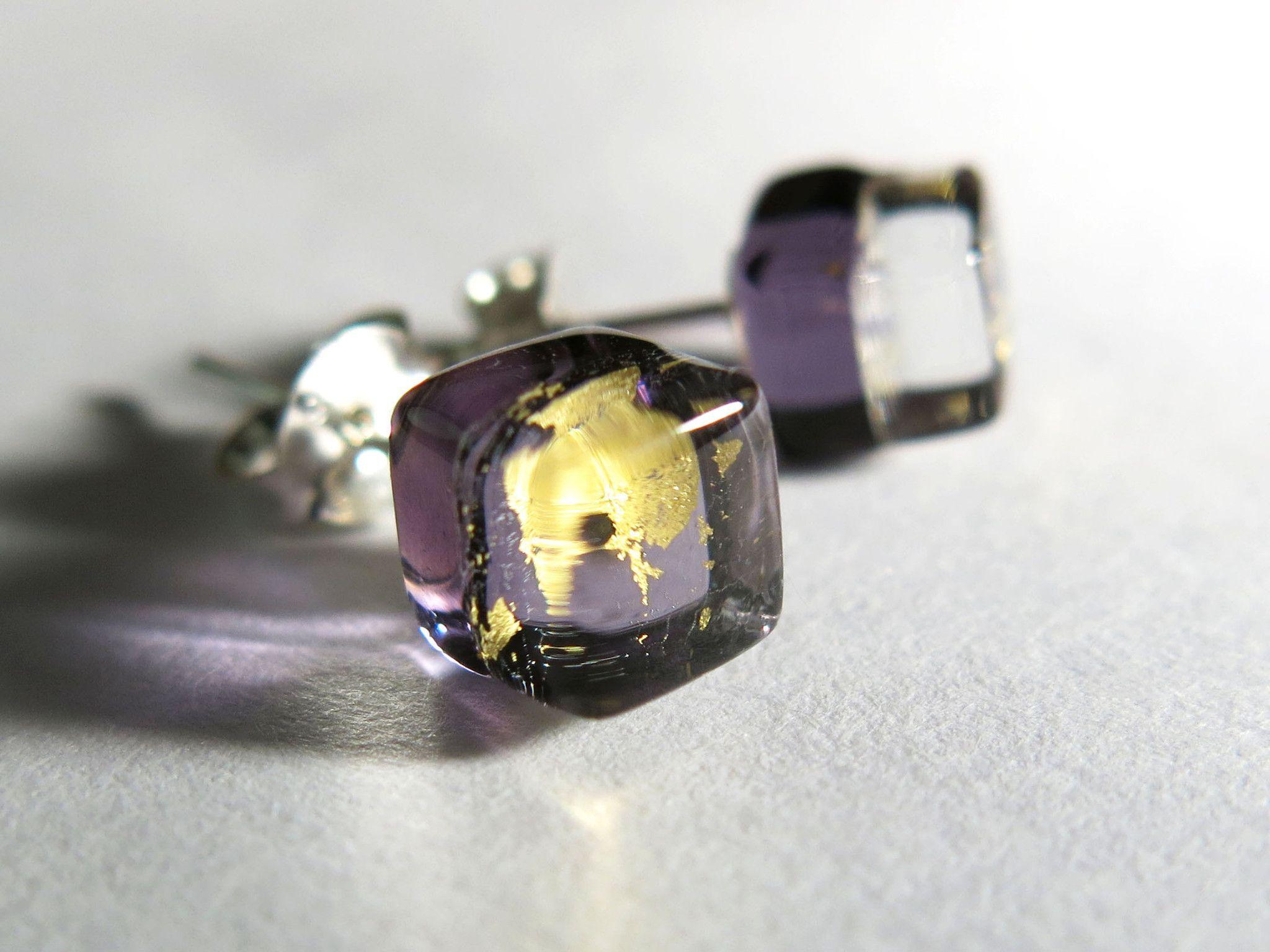 Handmade Liuli Glass Art- Ice Square (Purple Gold)- Artisan Fused Glass Earrings- Sterling Silver