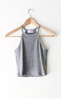 Knit Halter Crop Top - Heather Grey