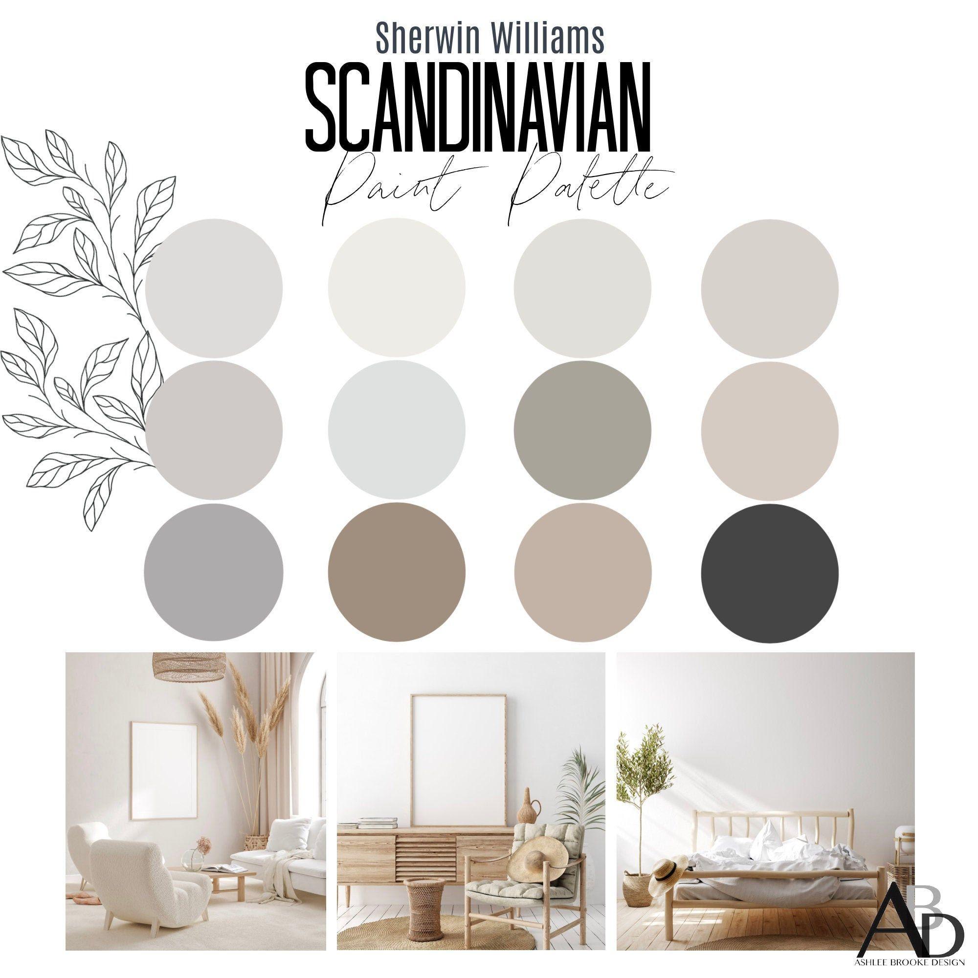 Sherwin Williams SCANDINAVIAN Interior Paint Palette - Interior Designer Selected -  Professional Paint Color Selection - Paint Palette