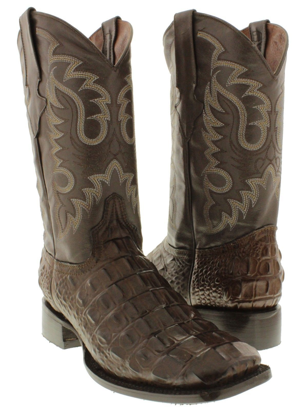 Mens Black Alligator Crocodile Back Western Cowboy Leather Boots Rodeo Square