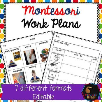 Montessori Work Plans  Editable  Montessori Elementary